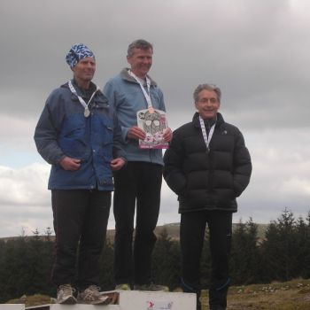 M60 Sprint podium - John (right) with Eddie Harwood (MOR) 2nd and Alun Jones (TVOC) 1st, Source:
