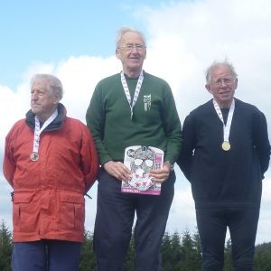 M75 Sprint podium - Andrew with Guy Goodair (EPOC) 2nd and Frank Martindale (LOK) 3rd, Source: