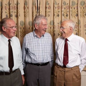 Founder members Dave Griffiths and Ian P Watson with President Frank Rose, Source:Peter Cull